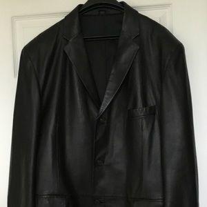 Men's Alfani Positano Black Soft Leather Blazer